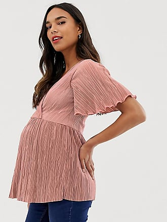 f31fd90152ef66 Asos Maternity ASOS DESIGN Maternity nursing plisse wrap top with flutter  sleeve in dusty pink