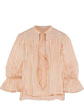 Alice & Olivia Alice + Olivia Woman Danika Pussy-bow Striped Burnout Satin Blouse Peach Size XS