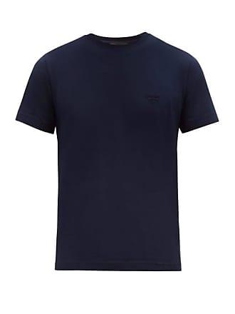 Prada Embroidered Logo Stretch Cotton T Shirt - Mens - Navy