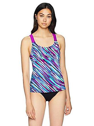 ZeroXposur Womens Plus Size Wide Strap Sport Tankini Top, Beet, 16W