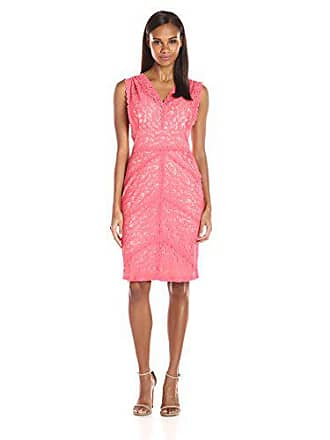 Ivanka Trump Womens V-Neck Lace Dress, Watermelon 12