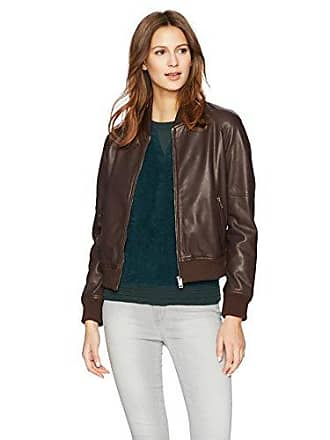 William Rast Womens Leather Washed Baseball Jacket Outerwear, Chocolate, L