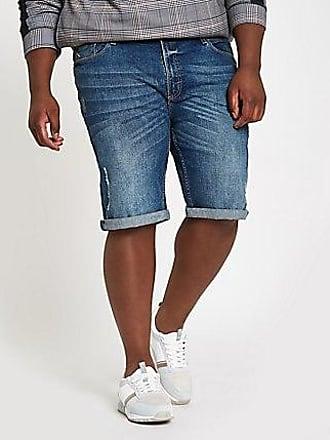 River Island Mens Big and Tall blue skinny fit denim shorts