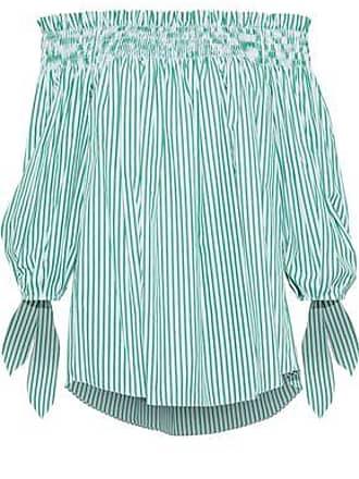 Caroline Constas Caroline Constas Woman Lou Off-the-shoulder Striped Cotton-poplin Top Green Size XS