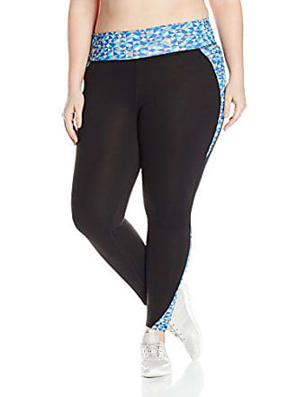 Fruit Of The Loom Fit for Me by Fruit of the Loom Womens Plus Size Breathable Pieced Legging, Teal Lagoon/Triangle Geo Print, 1X