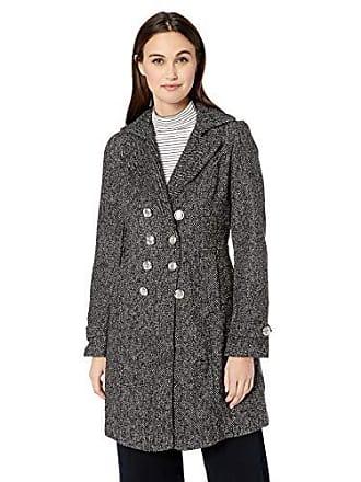 Yoki Womens Double Breast Textured Wool Jacket, Black, XL