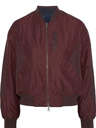 Vince Vince. Woman Paneled Crinkled-shell Bomber Jacket Burgundy Size XS