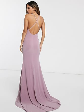 Club L Lange jurk met gekruiste achterkant in zeemeerminnenlijn-Roze