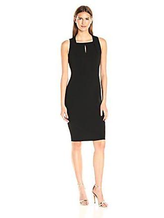 Calvin Klein Womens Sleeveless Square Neck Sheath Dress, Black 18, 8