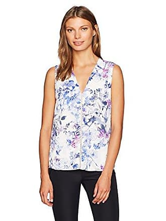 6a85163c80da T Tahari Womens Maura Blossom Print Blouse in Blue, White/Multi, M