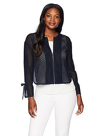 Ellen Tracy Womens Textured Short Jacket, Ink, M