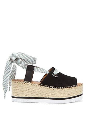 See By Chloé Lace Up Suede Flatform Espadrilles - Womens - Black