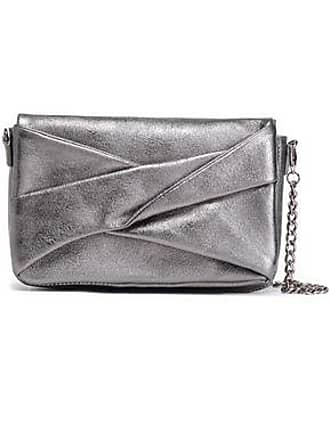 Halston Heritage Halston Heritage Woman Pleated Metallic Textured-leather Shoulder Bag Gunmetal Size
