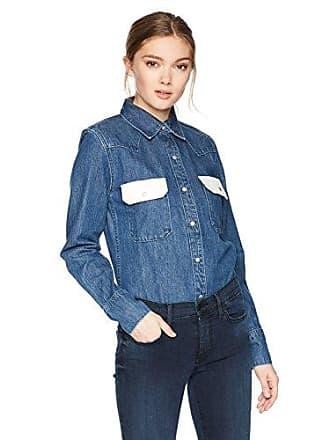 Calvin Klein Jeans Womens Western Lean Contrast Button Down Shirt Dark Blue/White, Small