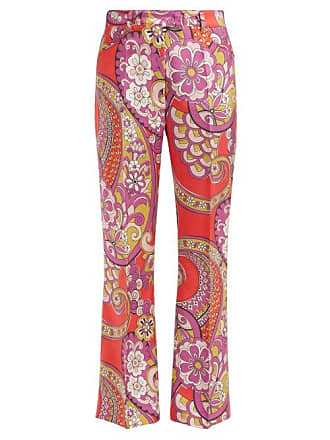 Etro Coconuts Paisley Print Silk Trousers - Womens - Red Multi