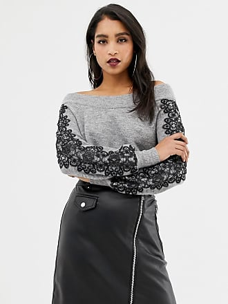 Lipsy off shoulder sweater with lace sleeve detail in gray - Gray