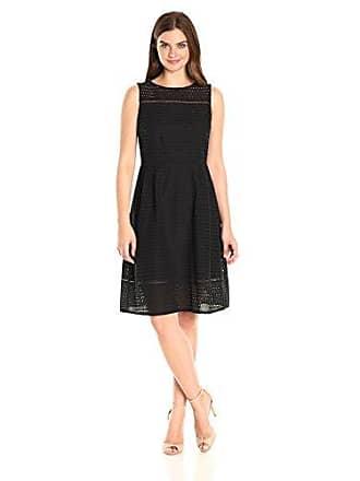 Ellen Tracy Womens Sleeveless Eyelet Dress, Black, 2