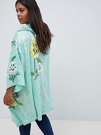 31173f3dd6f402 Asos Curve ASOS DESIGN Curve - Kimonojacke mit Blumenverzierung - Mehrfarbig