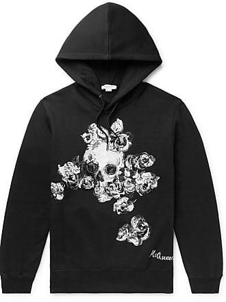 Alexander McQueen Embroidered Fleece-back Cotton-jersey Hoodie - Black
