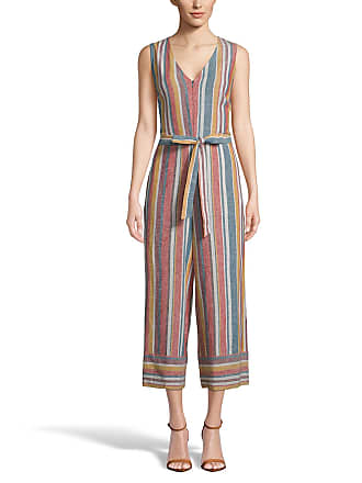 5twelve Striped Front-Zip Tie-Waist Sleeveless Cropped Jumpsuit
