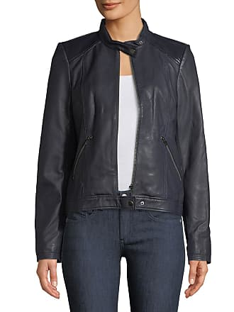 Neiman Marcus Patent Leather-Trim Leather Jacket