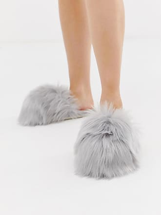 Loungeable faux fur slipper in grey
