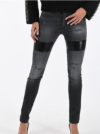 Just Cavalli Stonewashed Skinny Fit Jeans with Faux Leather Details Größe 30