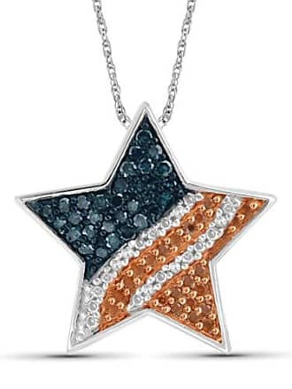 JewelersClub JewelersClub 1/4 Carat T.W. Multi-Color Diamond Sterling Silver American Flag Star Pendant, 18