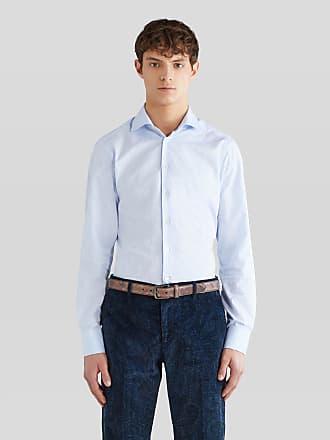Etro Cotton Jacquard Shirt With Logo, Man, Light Blue, Size 38