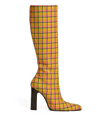 412c3e12013 Balenciaga Block Heel Checked Wool Boots - Womens - Yellow Multi