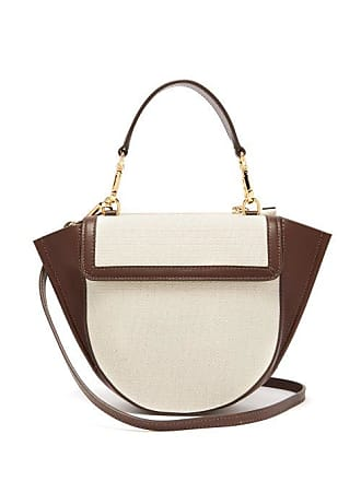 Wandler Hortensia Mini Canvas And Leather Cross Body Bag - Womens - Brown White