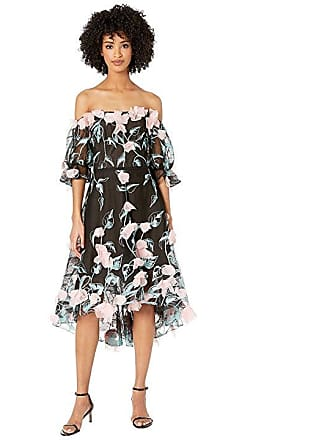 a5e377128053c Marchesa Off the Shoulder 3D Floral Embroidered Cocktail with Blouson  Sleeve and Trims (Black)