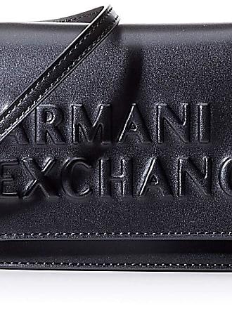 A X Armani Exchange Embossed Logo Crossbody Bag, Womens Cross-Body Black, 10x10x10 cm (W x H L)
