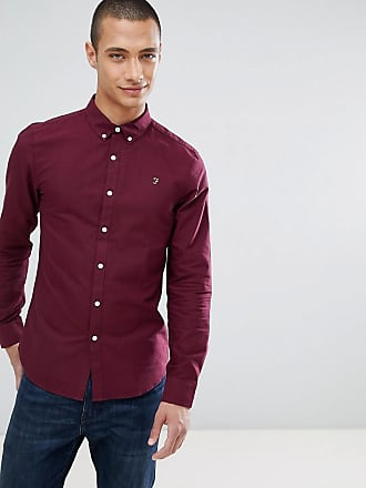 Farah Brewer slim fit oxford shirt in burgundy - Red