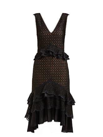 Jonathan Simkhai Peplum Lace Midi Dress - Womens - Black