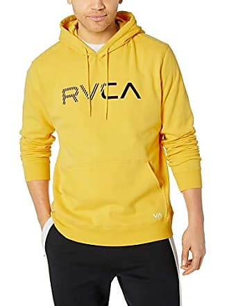 Rvca Mens Scratched Pullover Hoodie, Lemon L