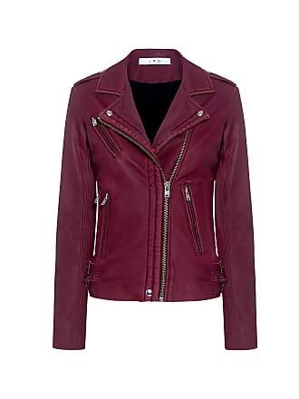 Iro Han Lambskin Leather Biker Jacket Wine