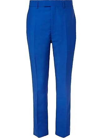 CALVIN KLEIN 205W39NYC Slim-fit Striped Mohair And Wool-blend Trousers - Blue