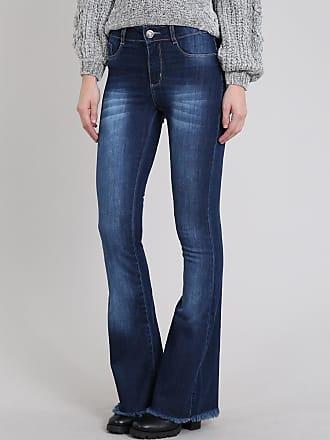 Sawary Calça Jeans Feminina Sawary Flare com Barra Desfiada Azul Escuro