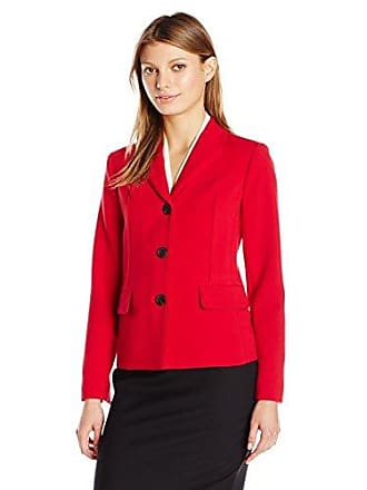 Ellen Tracy Womens Piped Seam Jacket, Rouge 16