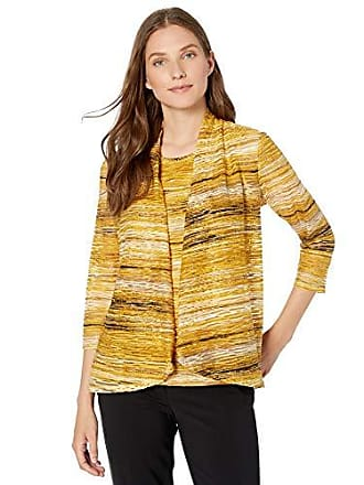 Kasper Womens Plus Size Long Sleeve HIGH Low Knit Jacquard Cardigan, Butterscotch Multi, 3X