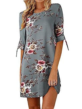 31dfca2bbc87d2 Mitlfuny Blumenmuster Bowknot-Ärmel Cocktail Minikleid Lässiges Partykleid  Strandkleid ongbluse Longshirt Blusenkleider (s,