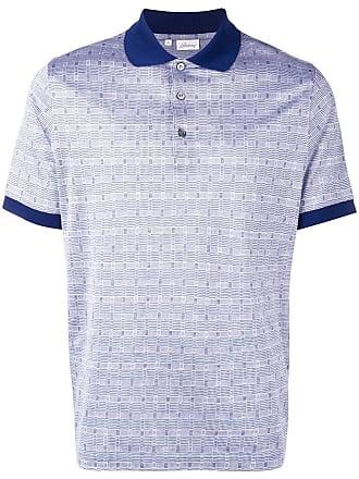 Brioni houndstooth polo shirt - Azul