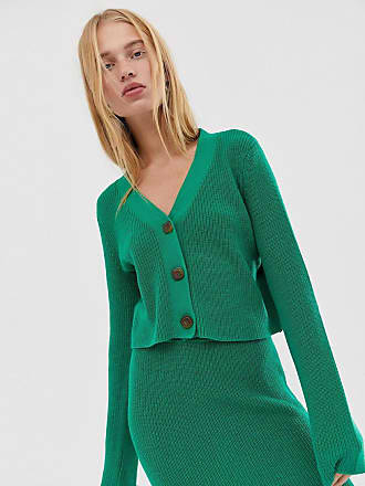 Asos two-piece v neck crop chunky cardigan in eco yarn - Green