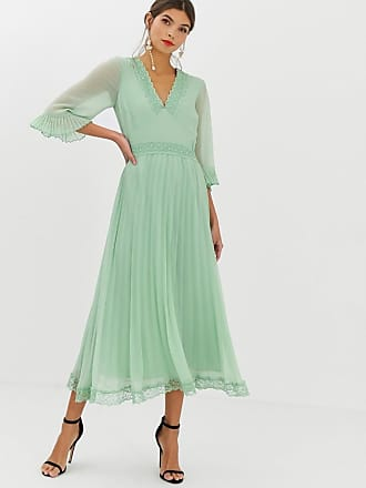 f06ab603145 Asos pleated midi dress with lace inserts - Green