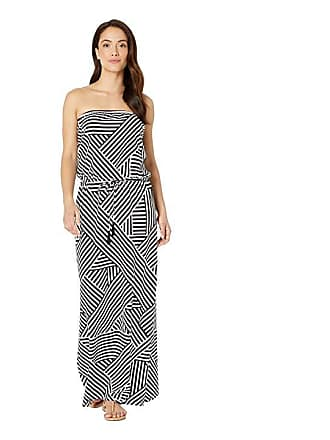 bb227423e40 Tommy Bahama Fractured Stripe Bandeau Maxi Dress Cover-Up (Black White)  Womens