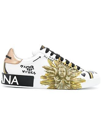 Dolce & Gabbana Tênis de couro com estampa Amore est Vitae - Branco