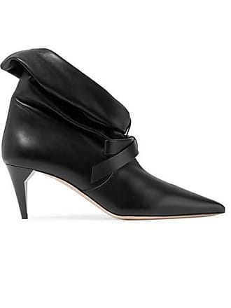 7d10a5ed42d Miu Miu Bow-embellished Leather Ankle Boots - Black