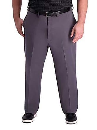 Haggar Mens Big and Tall B&T Premium Comfort Khaki Flat Front Classic Fit Pant, Charcoal, 54Wx34L