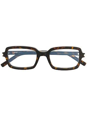 Saint Laurent Eyewear Armação de óculos retangular - Marrom